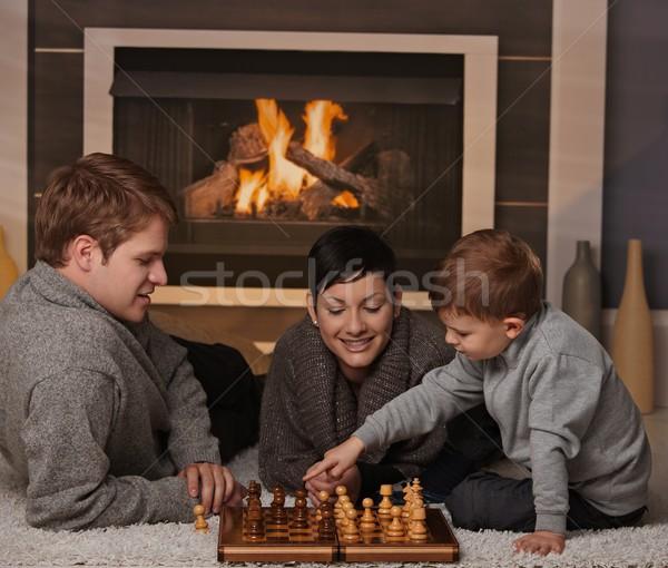 Foto stock: Jovem · família · jogar · xadrez · anos · velho