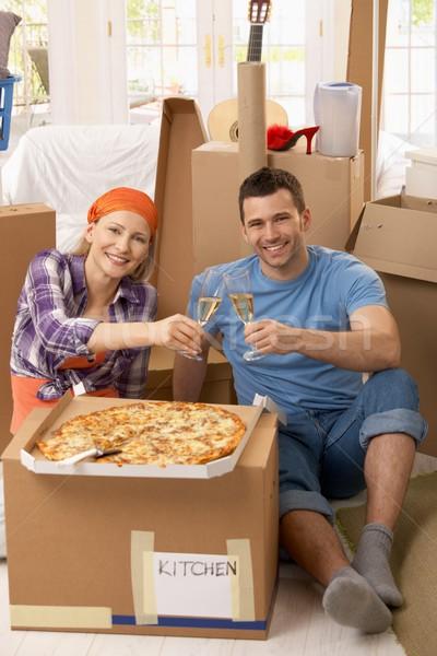 カップル 祝う シャンパン 幸せ ピザ ストックフォト © nyul
