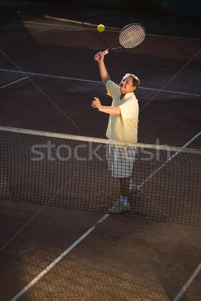 Senior man spelen tennis actief 70s Stockfoto © nyul