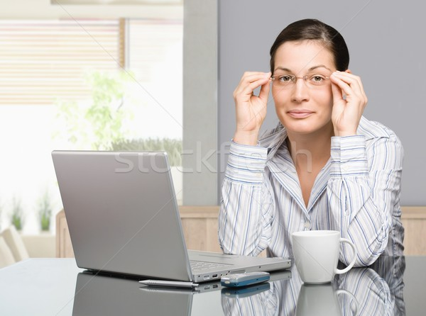 Woman working at home Stock photo © nyul