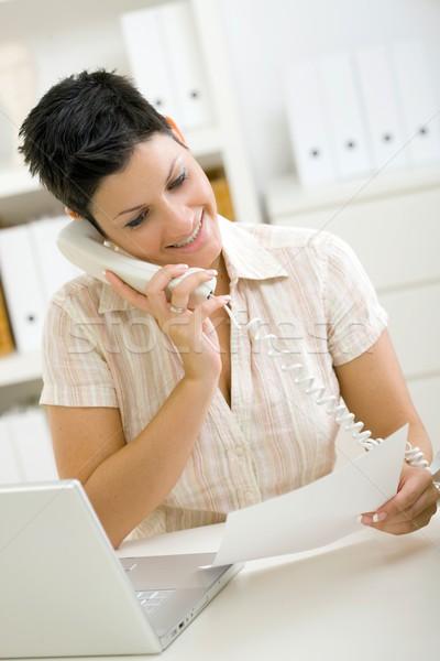 Woman calling on phone Stock photo © nyul