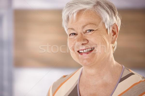 Сток-фото: портрет · счастливым · старший · женщину · белые · волосы