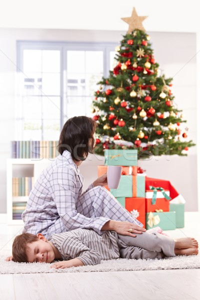 Mother and son on christmas morning Stock photo © nyul