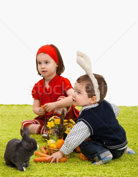 Stock photo: Little children playing with Easter bunny