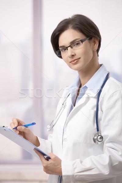 ストックフォト: 女性 · 書類 · 病院 · 医師