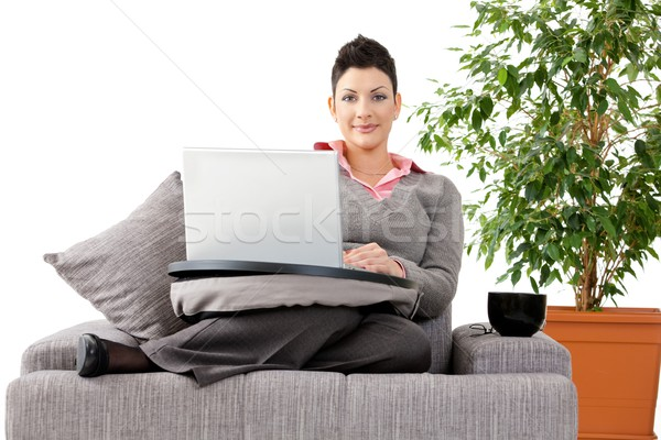 Woman working on computer at home Stock photo © nyul