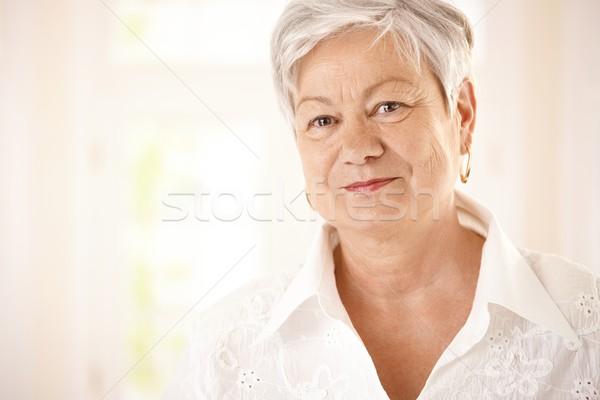 Сток-фото: портрет · белые · волосы · глядя · камеры