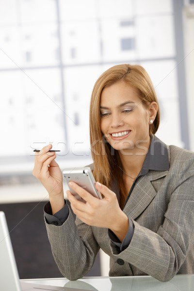 Cheerful businesswoman with PDA Stock photo © nyul