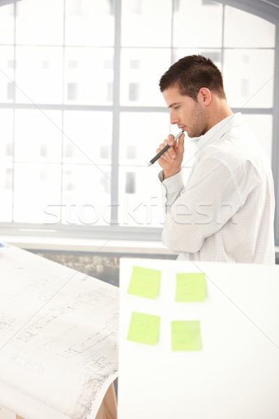 Young architect planning on paper in office Stock photo © nyul