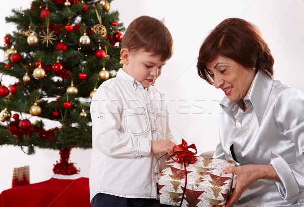 Stock photo: Older lady and little boy at christmas