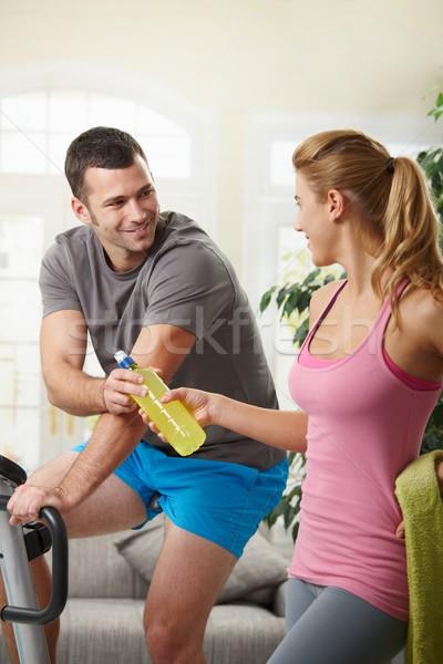 Man training on exercise bike Stock photo © nyul