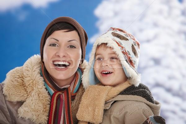 Foto stock: Madre · nino · invierno · retrato · feliz · junto