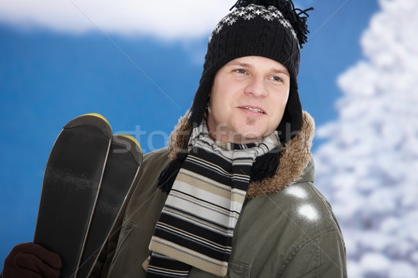 Young man with skis Stock photo © nyul