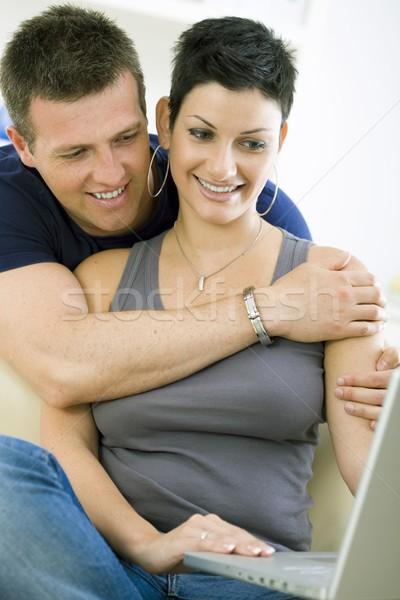 Bilgisayar mutlu Internet dizüstü bilgisayar ev Stok fotoğraf © nyul