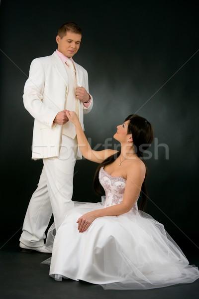 Bride and groom in wedding dress Stock photo © nyul