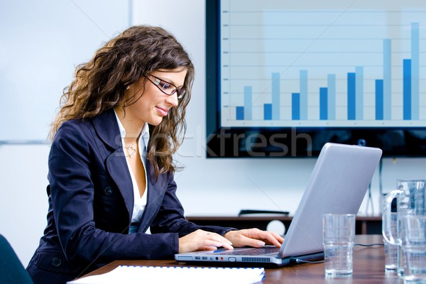 Businesswoman using laptop Stock photo © nyul
