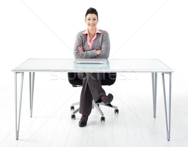 Stockfoto: Portret · zakenvrouw · gelukkig · vergadering · glimlachend