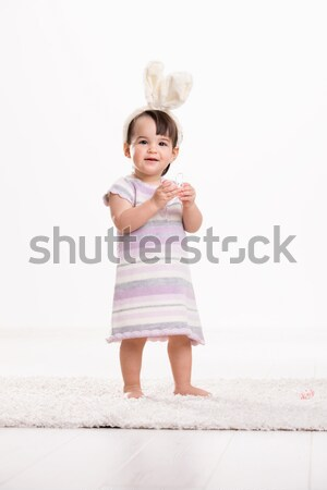 Baby girl with easter eggs Stock photo © nyul