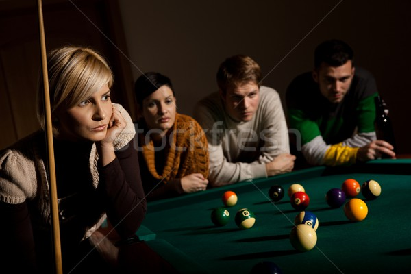 Woman concentrating on snooker Stock photo © nyul