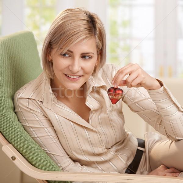 ストックフォト: 女性 · 小 · 赤 · 中心 · 笑顔の女性