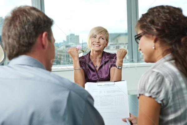 Bem sucedido entrevista de emprego feliz mulher candidato trabalho Foto stock © nyul