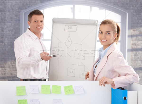 Young people using whiteboard in office smiling Stock photo © nyul