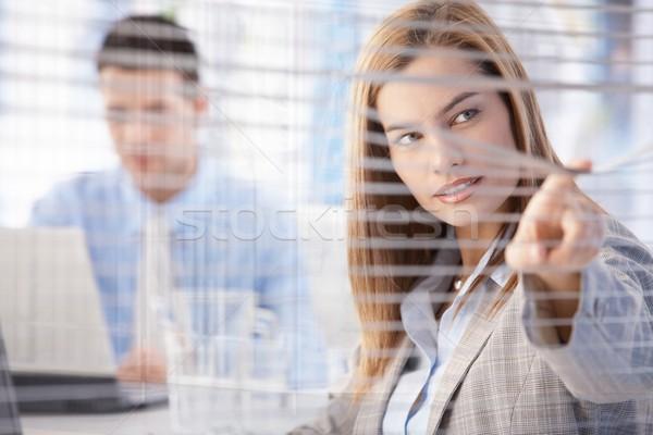 Jonge zakenvrouw blinde aantrekkelijk heldere Stockfoto © nyul