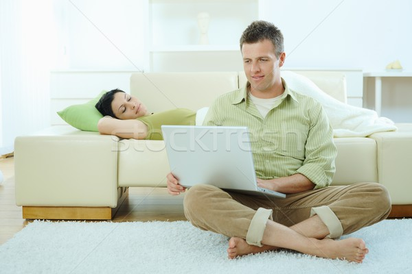 Couple browsing internet Stock photo © nyul