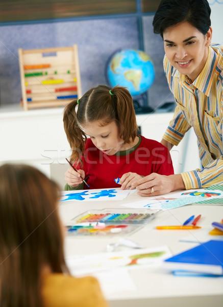 Stock foto: Schulkinder · Lehrer · Kunst · Klasse · elementare · Alter