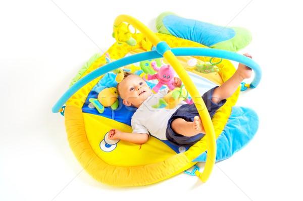 Stock fotó: Baba · játékok · egyéves · fiú · játszik · stúdiófelvétel