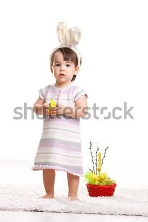 Сток-фото: девочку · Пасхальный · заяц · костюм · Постоянный