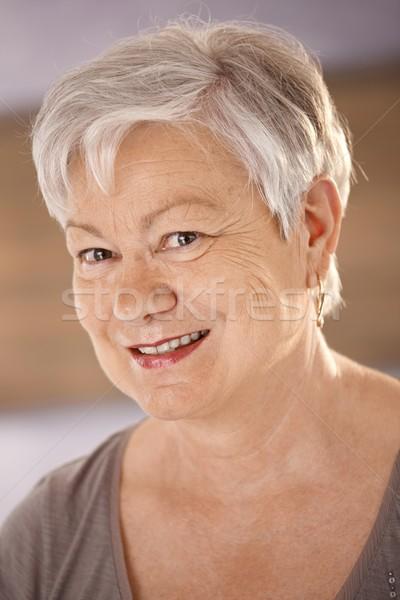 Portre mutlu kıdemli kadın beyaz saçlı Stok fotoğraf © nyul