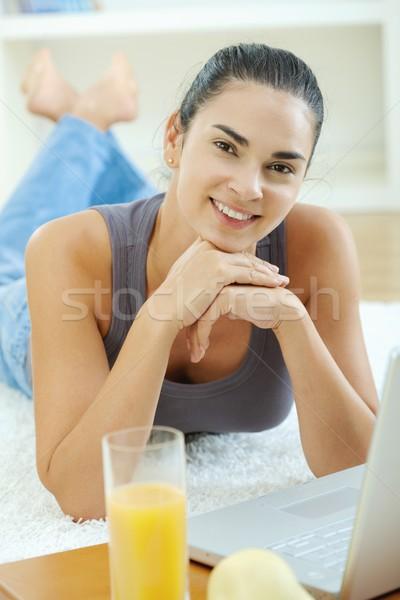 Woman using laptop Stock photo © nyul