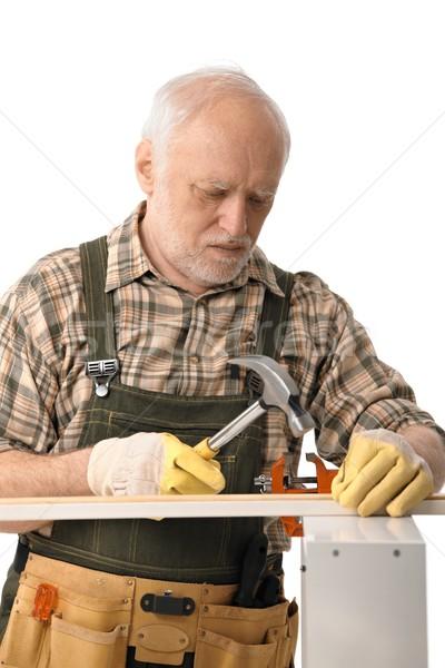 Senior handyman isolado branco saúde ferramentas Foto stock © nyul