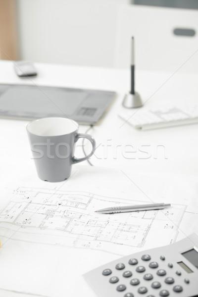 ストックフォト: 青写真 · クローズアップ · 写真 · ビジネス · 作業