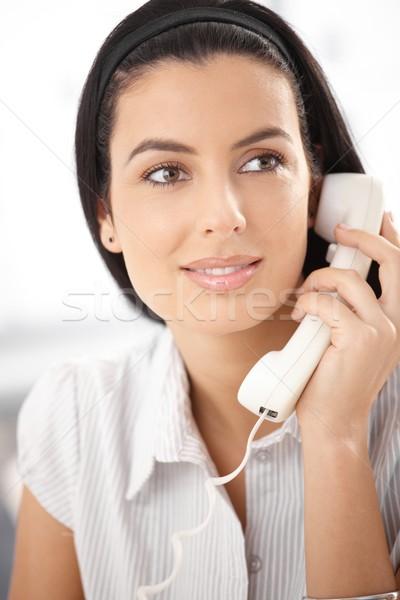 Beautiful woman with landline phone Stock photo © nyul