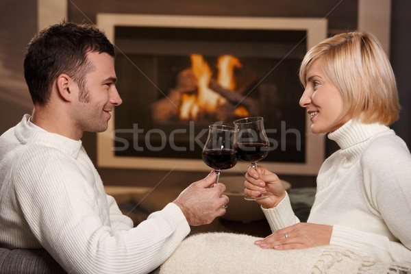 Foto stock: Romántica · Pareja · casa · jóvenes · sesión · sofá