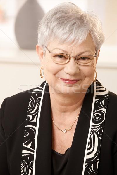 портрет старший женщину домой белые волосы глядя Сток-фото © nyul