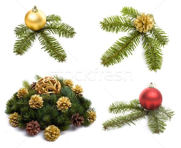 Stockfoto: Christmas · decoraties · witte · eenvoudige · geïsoleerd · achtergrond