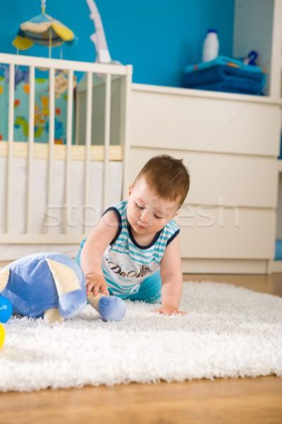 Baby domu słodkie chłopca posiedzenia Zdjęcia stock © nyul