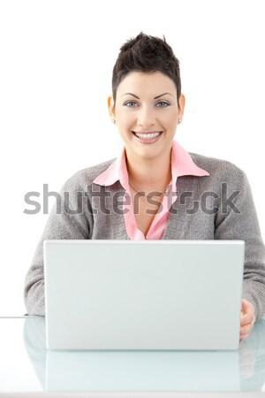 Stockfoto: Zakenvrouw · werken · laptop · gelukkig · laptop · computer
