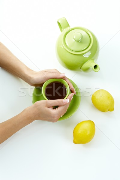 Female hands holding tea cup Stock photo © nyul