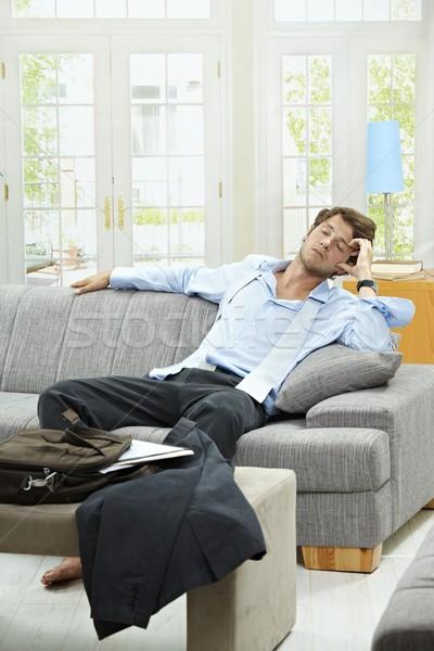 Stok fotoğraf: Uzun · gün · yorgun · işadamı · kanepe