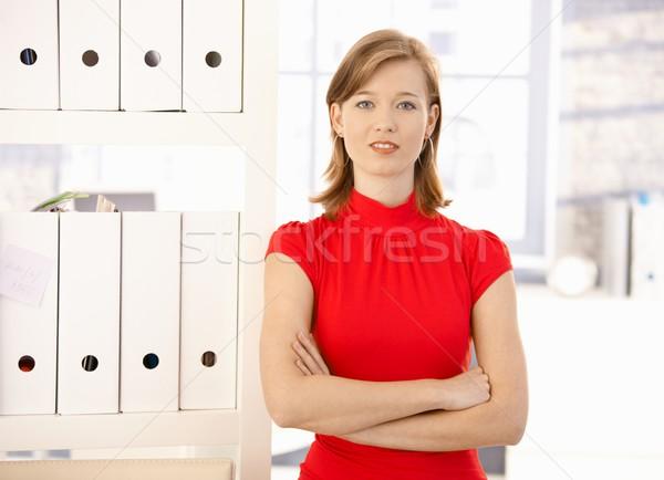 Сток-фото: портрет · женщины · служащий · привлекательный · красный