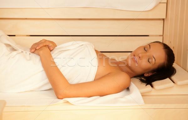 Kadın sauna gözleri kapalı rahatlatıcı sağlıklı Stok fotoğraf © nyul