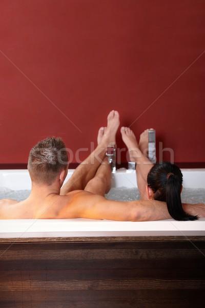 Casal bem-estar jacuzzi pé para cima relaxante Foto stock © nyul
