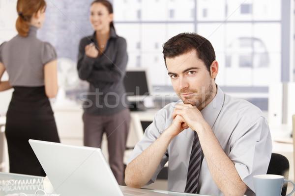 Stock fotó: Boldog · üzleti · csapat · törik · iroda · nők · beszélget