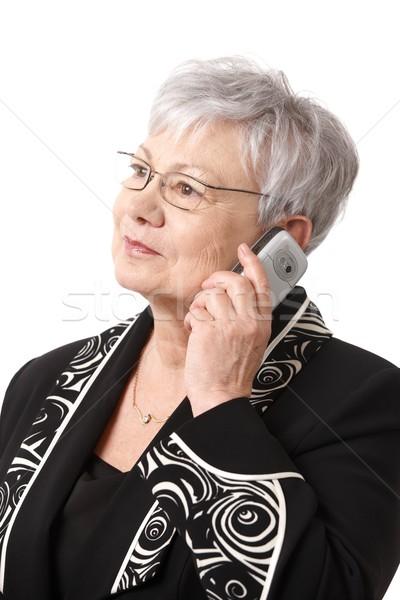 Stockfoto: Portret · senior · dame · mobiele · telefoon