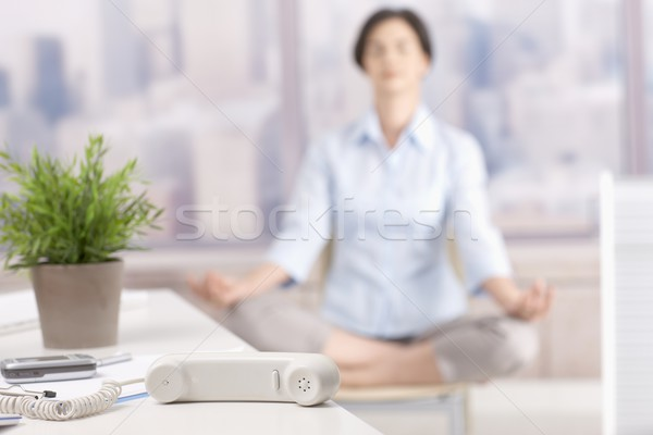 Stock photo: Landline phone put aside in skyscraper office