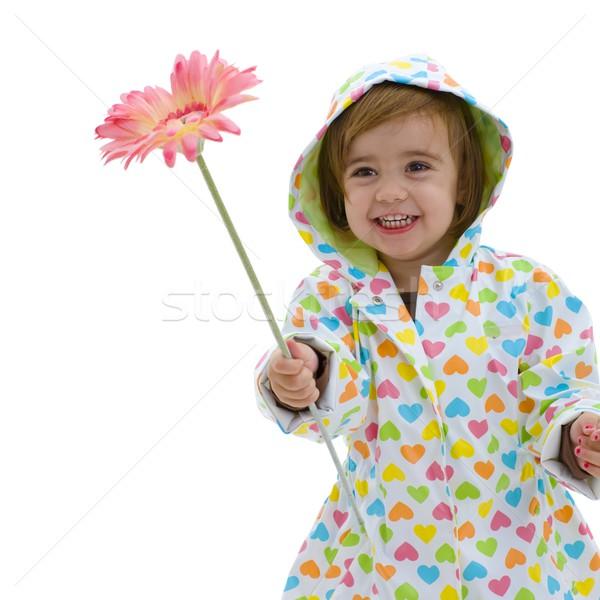 Cute fille fleur heureux faible Photo stock © nyul